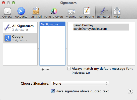 Mac Mail Signature Installation | Array! The Blog
